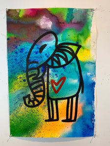 Signature Cave elephant 9/being alive / color wash / 2021