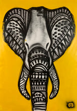 Load image into Gallery viewer, Tribal elephant - black+white+yellow / amazing things