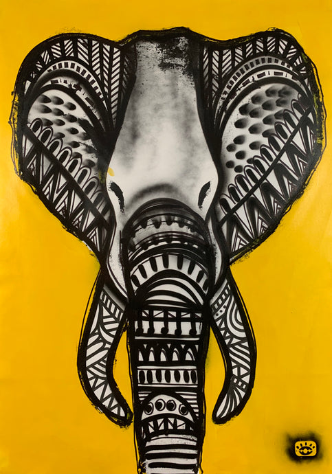 Tribal elephant - black+white+yellow / amazing things