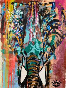 Focus on the blessings/ amazing things signature elephant