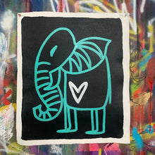 Load image into Gallery viewer, Signature cave elephant/ aqua + black + white heart