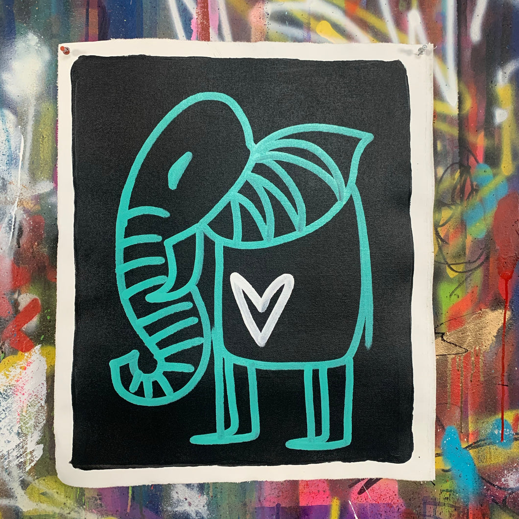 Signature cave elephant/ aqua + black + white heart