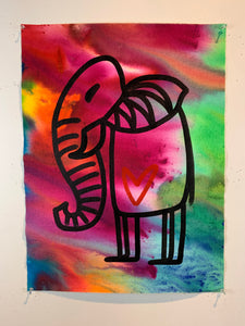 Signature Cave elephant 14/being alive / color wash / 2021