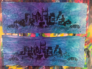 Signature skyline / on dyed fabric