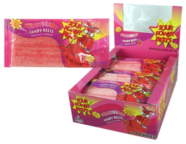 Dorval Strawberry Sour Belts 24ct-online-candy-store-16087