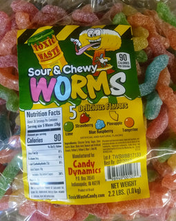 Toxic Waste Sour Chewy Worms 2.2lb