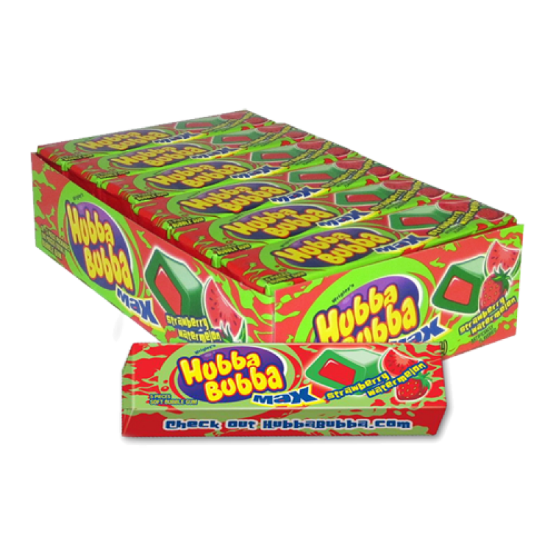 Hubba Bubba Max Strawberry Watermelon 5 piece Bubble Gum 18ct