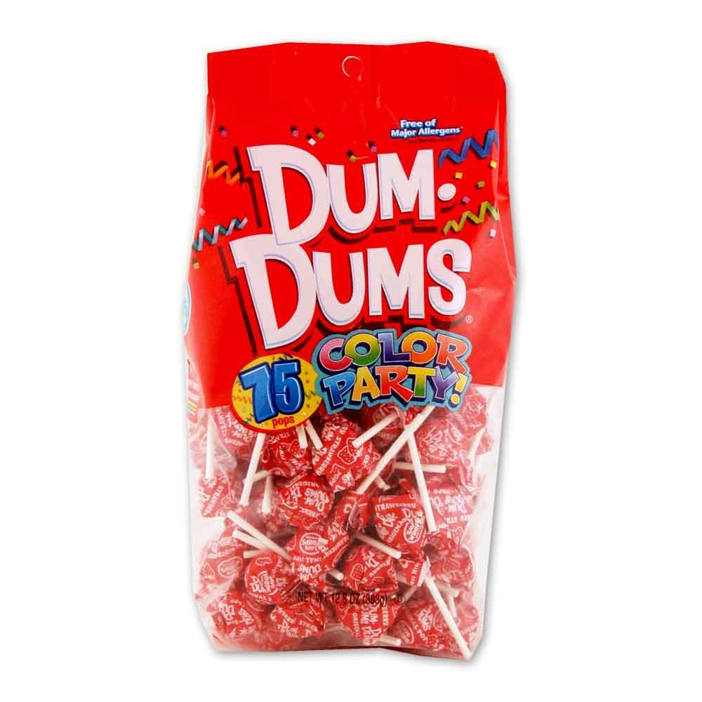 Dum Dums Lollipops Color Party Red Strawberry Flavor 12.8 oz Bag 4ct-online-candy-store-8000