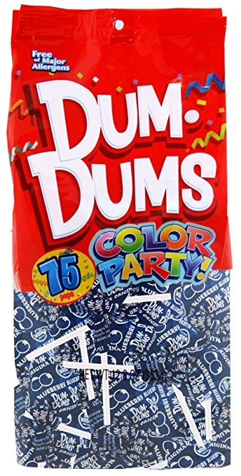 Dum Dums Lollipops Color Party Blue Blueberry Flavor 12.8 oz.Bag 4ct-online-candy-store-8800