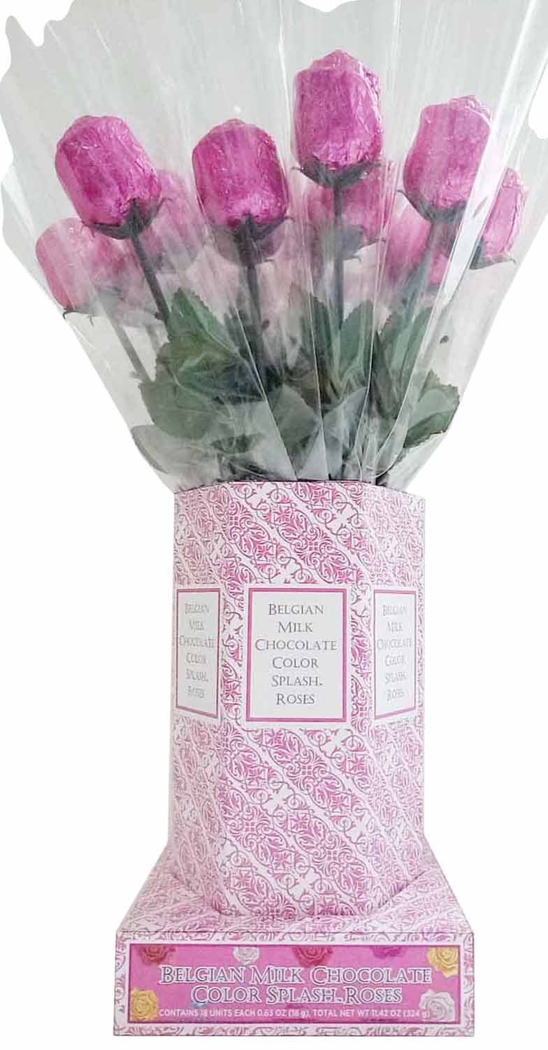 Alberts Belgian Milk Chocolate Long Stem Roses Individually Wrapped Pink Foil 20ct
