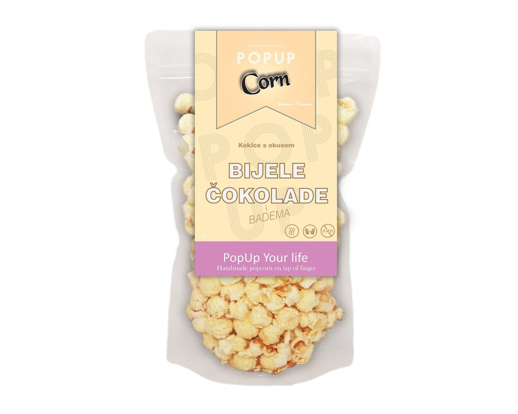 Gourmet POP Corn - White chocolate and Almond - Popup