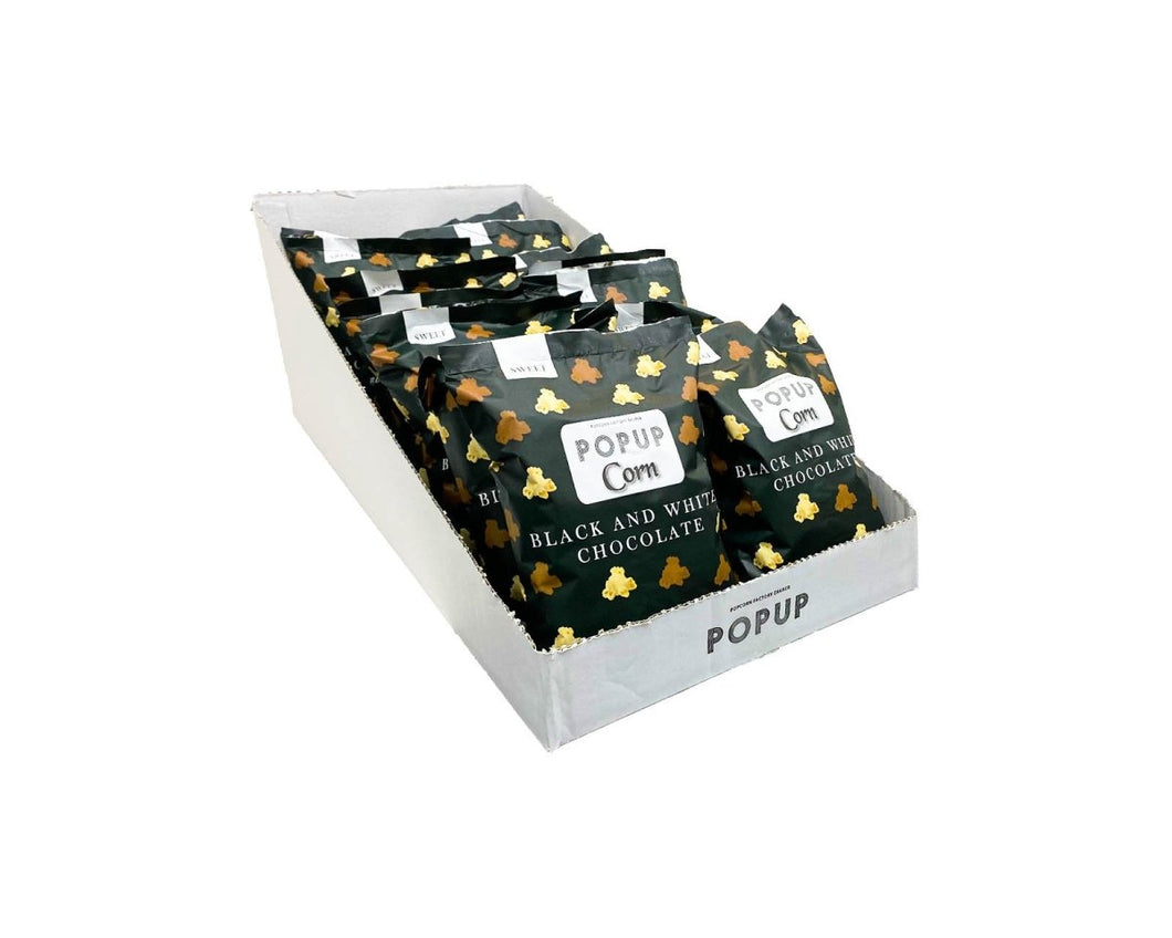 Ready2shelf box - 16 bags PopUp Corn Black and White Chocolate - Popup