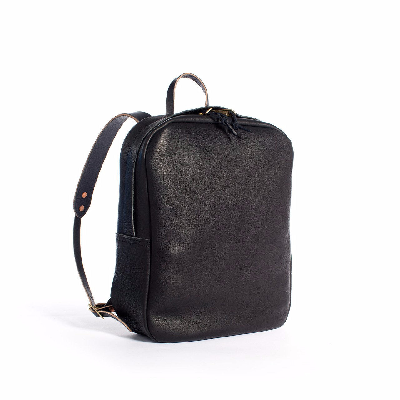 BLACK LEATHER ZIP BACKPACK