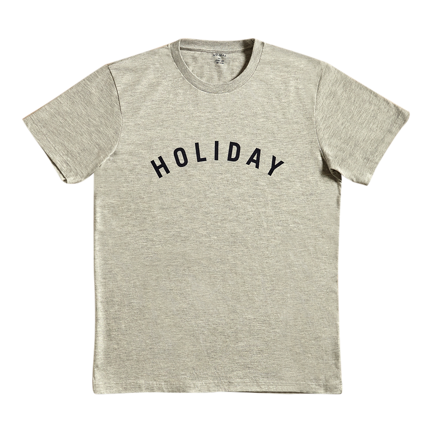 Holiday Grey Navy Logo T Shirt