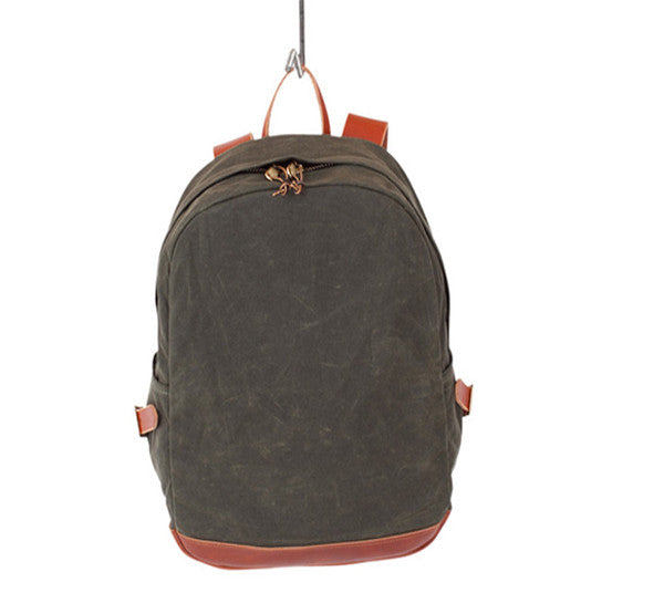 OLIVE WAX ZIP BACKPACK
