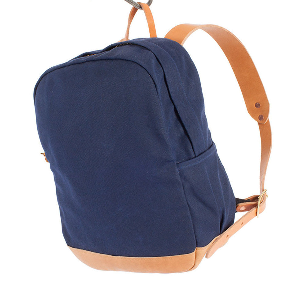 NAVY WAX TWILL ZIP BACKPACK