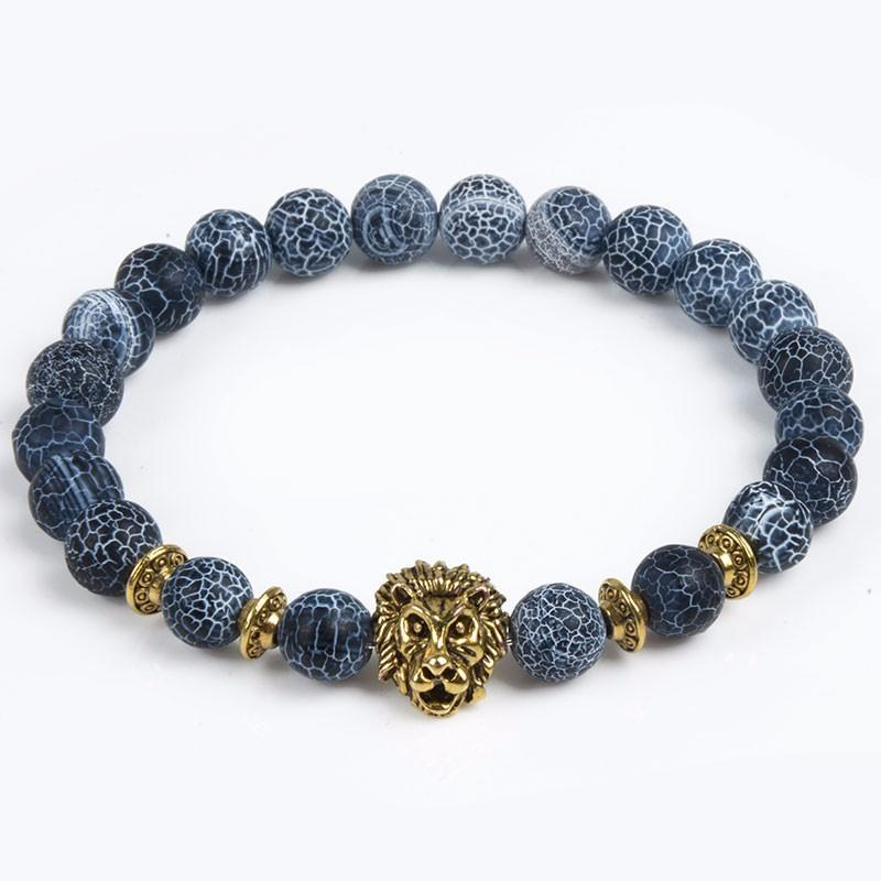 Black Agate Frosted Vein Lion Bracelet™