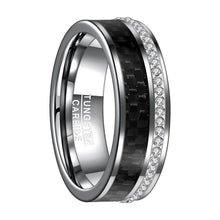 Load image into Gallery viewer, Black Carbon Fiber Tungsten Ring™