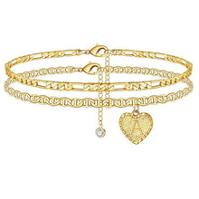 Load image into Gallery viewer, Gold Heart Initials Ankle Bracelet™ (BUY ONE GET ONE FREE)