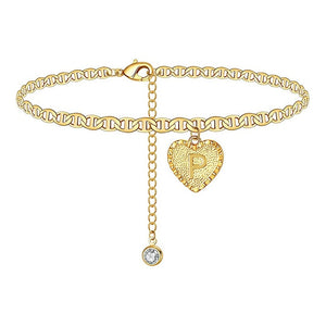 Gold Heart Initials Ankle Bracelet™ (BUY ONE GET ONE FREE)
