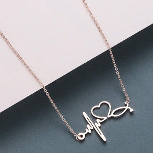 Lovely Stethoscope Heartbeat Necklace