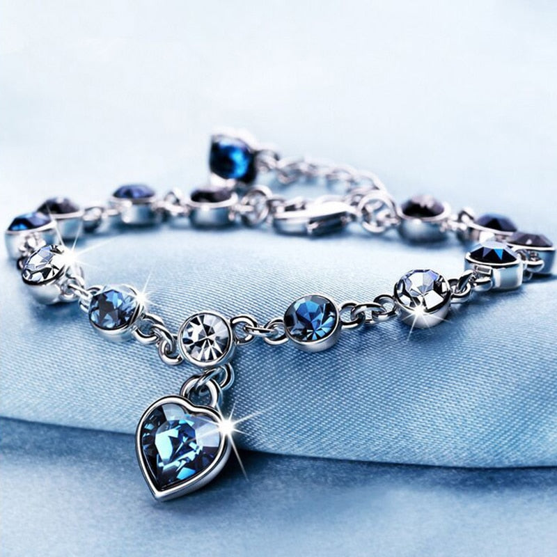 Blue Crystal Heart Charm Bracelet™