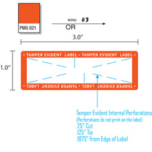 "Load image into Gallery viewer, 1"" x 3"" Tamper Evident Paper Label Permanent Adhesive Orange Border (500/Roll)"