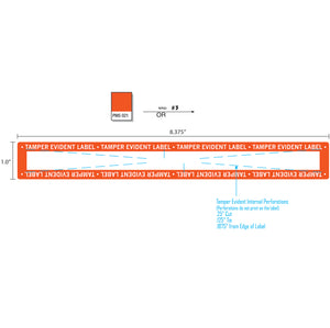 "1"" x 8.375"" Tamper Evident Clear Film Label Permanent Adhesive Orange Border (250/Roll)"