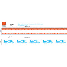 "Load image into Gallery viewer, 1"" x 100' Continuous Film Tamper Evident Label with Caution Message, Permanent Adhesive, Orange Border, and Perforations every 2.125"" (1/Roll)"