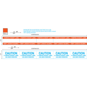 "1"" x 100' Continuous Film Tamper Evident Label with Caution Message, Permanent Adhesive, Orange Border, and Perforations every 2.125"" (1/Roll)"