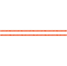 "Load image into Gallery viewer, 1"" x 100' Continuous Tamper Evident Paper Label Permanent Adhesive Orange Border (1/Roll)"