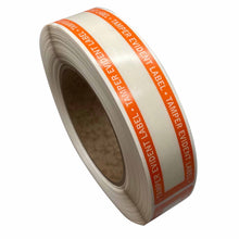"Load image into Gallery viewer, 1"" x 8.375"" Tamper Evident Clear Film Label Permanent Adhesive Orange Border (250/Roll)"