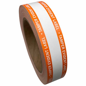 "1"" x 100' Continuous Tamper Evident Paper Label Permanent Adhesive Orange Border (1/Roll)"