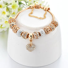 Load image into Gallery viewer, Luxury Crystal Heart Charm Bracelets&Bangles Gold