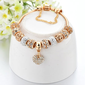Luxury Crystal Heart Charm Bracelets&Bangles Gold