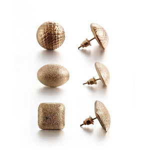 3 Pairs/set  Elegant  Round Oval Gold Scrub Ear Stud Earrings
