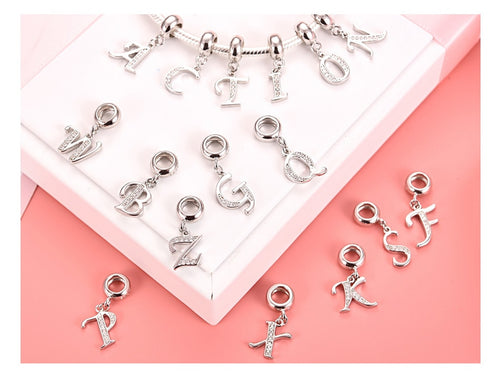 A To Z Letter Charms 925 Sterling Silver CZ Beads Fit Women Pandora Charms