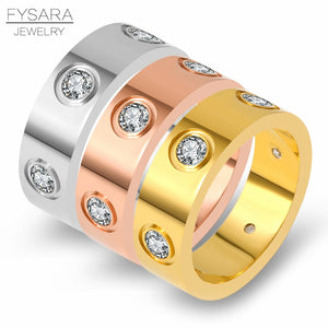 Luxury Brand Stainless Steel Rose Gold Color Love Ring