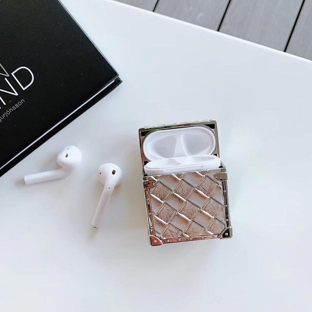 Luxury brand metal frame weave pattern case For Airpods