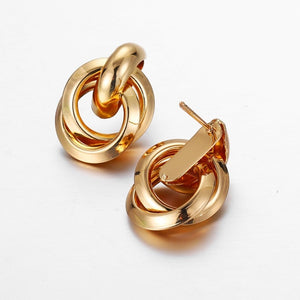 New Trendy Gold Twisted Small Stud Earrings