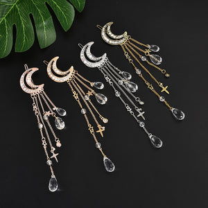 Fashion Elegant Women Lady Moon Rhinestone Crystal Tassel Long Chain