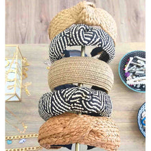 Load image into Gallery viewer, Straw Weave Knotted Headband for Women Cross Handmade