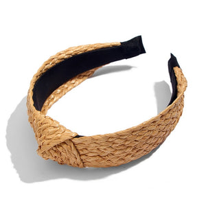 Straw Weave Knotted Headband for Women Cross Handmade