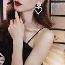 Load image into Gallery viewer, Dominated Exaggerated fashion crystal double heart earrings