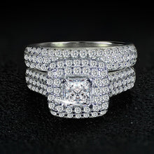 Load image into Gallery viewer, Gorgeous Silver Wedding Ring Set band for bridal girls and Women