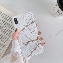 Load image into Gallery viewer, Luxury Gold Strip Crack Marble Holder Phone Case For iPhone Soft Silicone Stand Back Cover