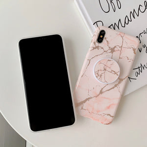 Luxury Gold Strip Crack Marble Holder Phone Case For iPhone Soft Silicone Stand Back Cover