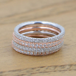 Simple Classic Wedding Silver Rings