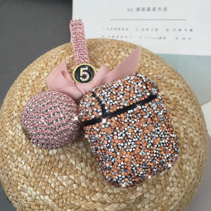 Luxury Diamond Rhinestone Case With Hanging Ball Keychain For Apple Airpods