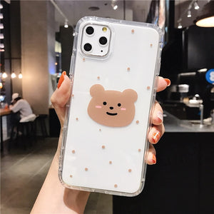 Cartoon Bear Phone Case For Apple iphone 11 Pro X XS Max XR Soft TPU Back Cover For iphone 7 8 plus 7plus Cute Lovely Clear Case
